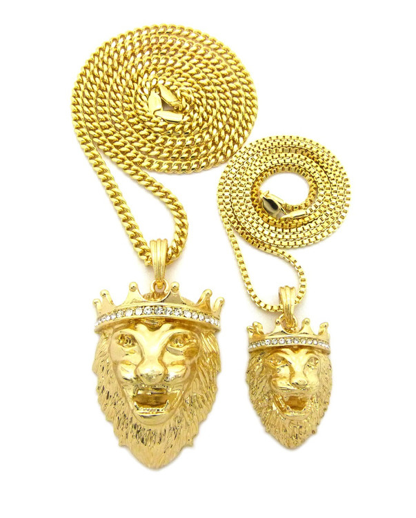 Mens Hip Hop Double Lion of Judah Pendant Chain 14k Gold