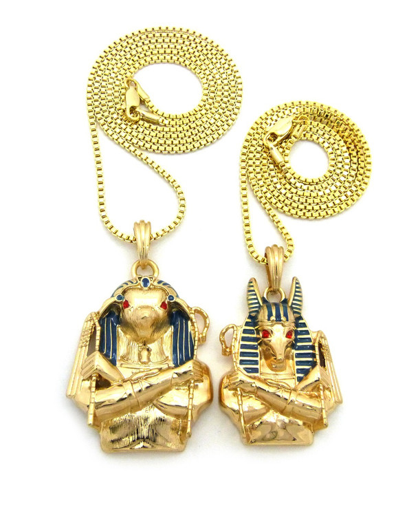 Egyptian God Anubis / Horus Bird Cz Pendant Box Chain 14k Gold