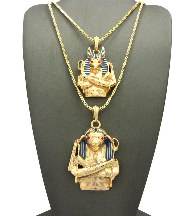 Egyptian God Anubis Horus Bird Cz Pendant Box Chain 14k Gold