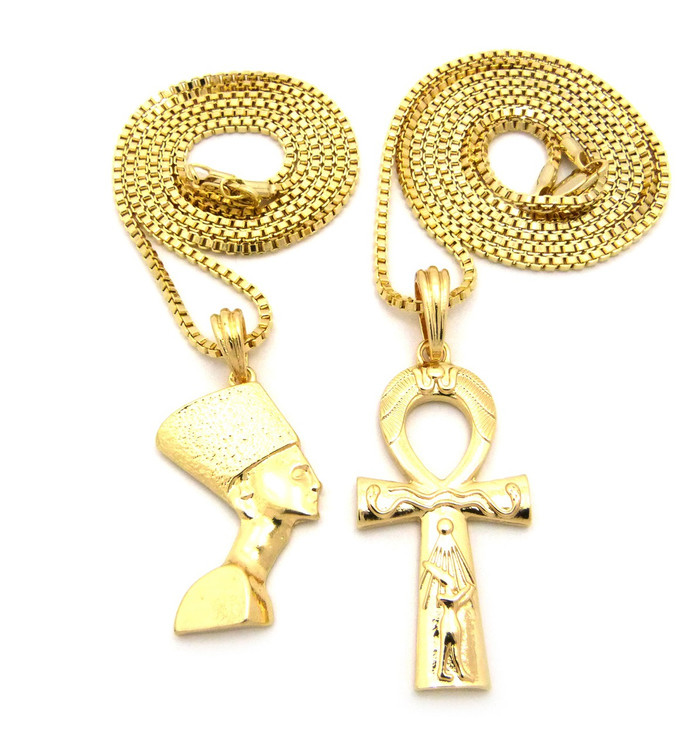 Egyptian Ankh Cross Queen Nefertiti Pendant Chain