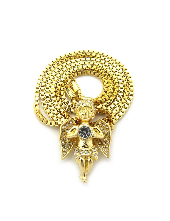 Radiant Diamond Cz Angel Cherub Pendant Chain 14k Gold