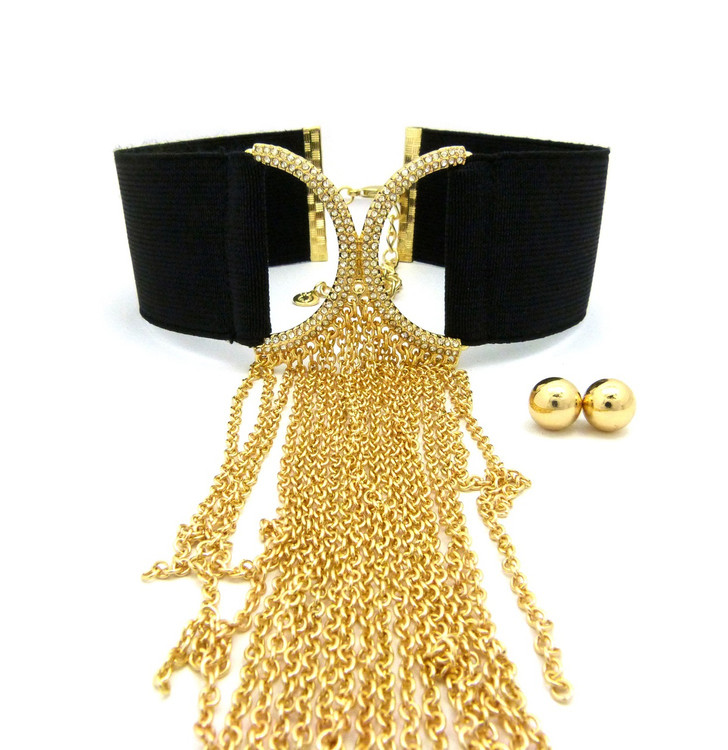 Ladies Sexy Stretch Choker Tassel Chain Earrings Set