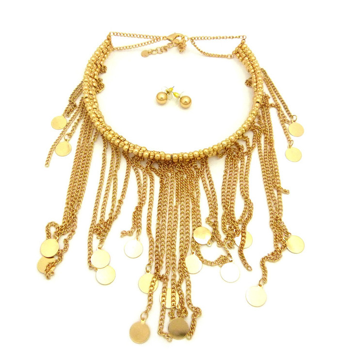 Rainfall Dangle Choker Chain Necklace Gold