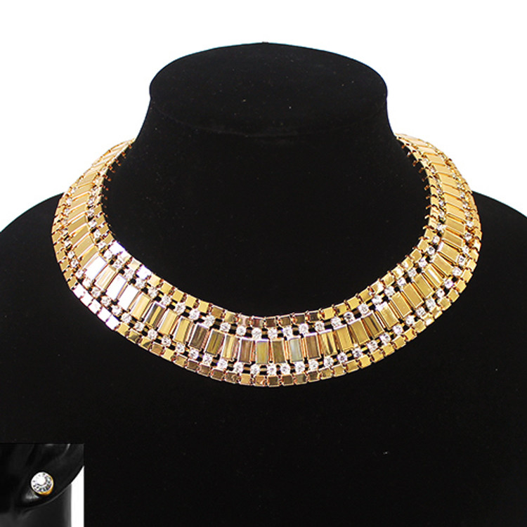 Ladies Sexy Bling 25mm Rhinestone Metal Chain Necklace Earrings Set