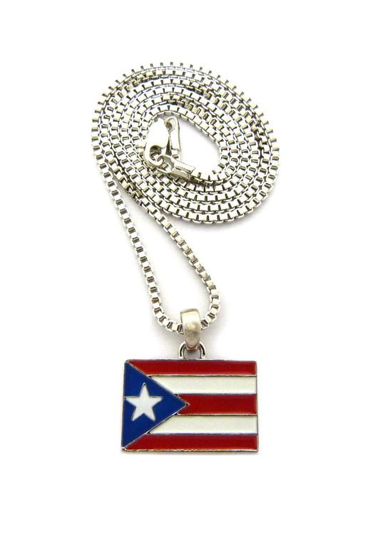Puerto Rico Rhodium Silver Flag Pendant Chain