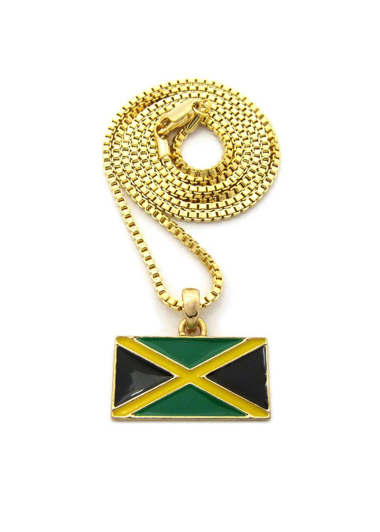 Jamaica Flag Pendant Chain Gold