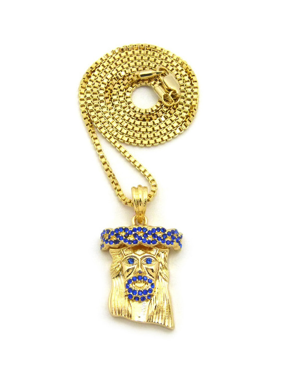 14k Gold Blue Stone Jesus Face Pendant Box Chain Necklace