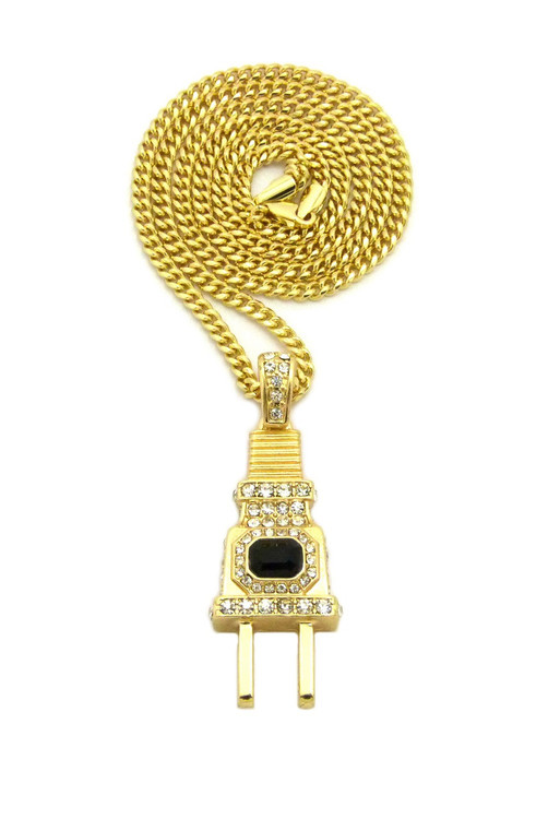 Coke Boys Inspired Iced Out Power Plug Pendant w/ Cuban Link