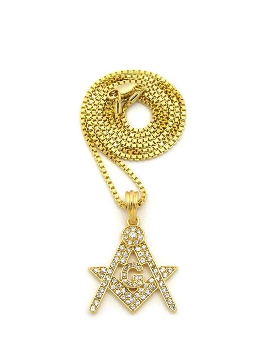 Free Mason Compass Square Diamond Cz Logo Pendant w/ Chain