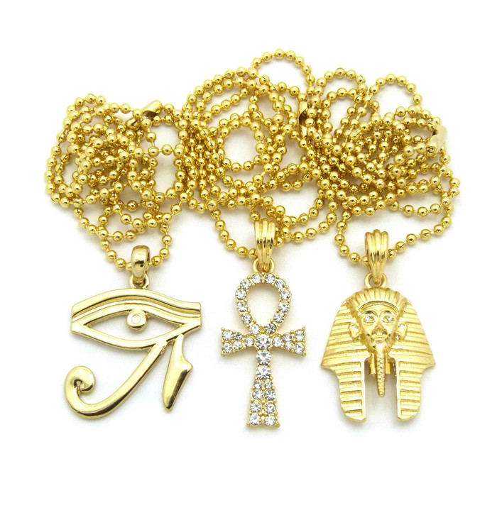 14k Gold King Tut Eye Of Heru Ankh Cross Pendant Chain Set