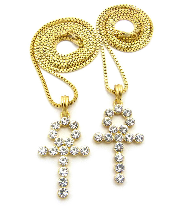 14k Gold Double Diamond Cz Ankh Cross Pendant Set