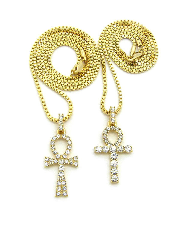 Iced Out 14k Gold Double Diamond Cz Ankh Cross Pendant Set
