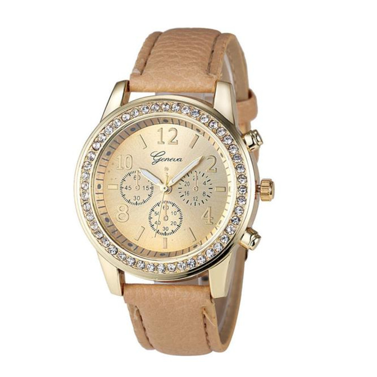 Chronograph Classic Round Ladies Women Crystals Watch