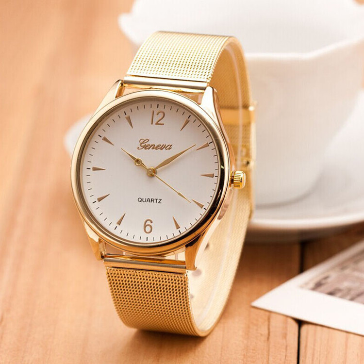 Classic Clean Sleek 14k Gold Stainless Steel Band Watch