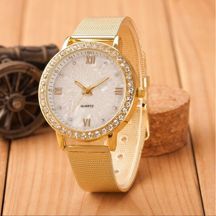 Classy Crystal Roman Numerals Gold Mesh Band Wrist Watch