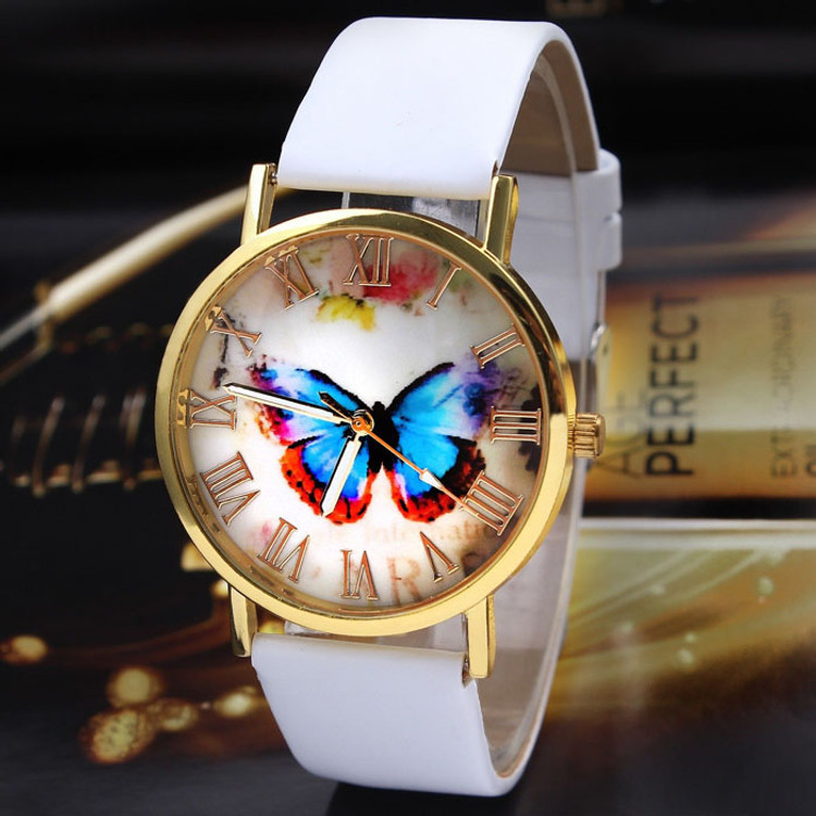 Womens Fashion Butterfly Leather Band Analog Wrist Watch