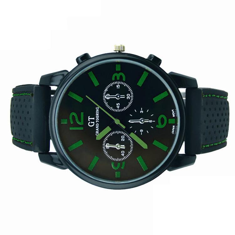 Mens Hip Hop Big Face 3 Zone GT Sport Watch Green