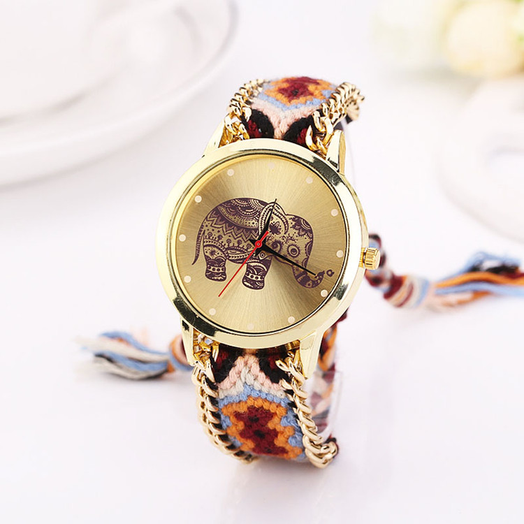 Women Elephant Pattern Weaved Rope Band Bracelet Wrist Watch