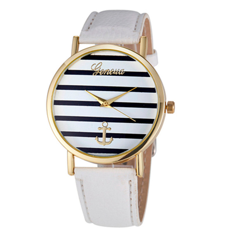 Women's Striped Anchor Analog Leather Nautical Watch