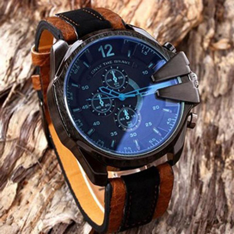Men's Analog Steel Case Quartz Dial Synthetic Leather Watch