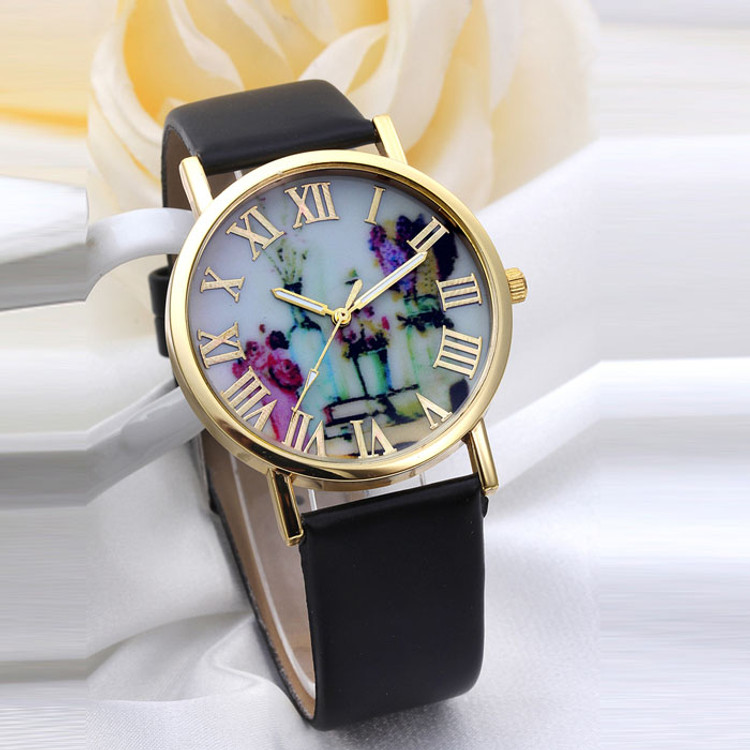 Vases Dial Leather Band Watch