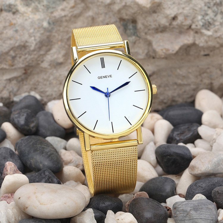 Ladies Sleek Simple Sexy Casual Stainless Steel Watch Gold
