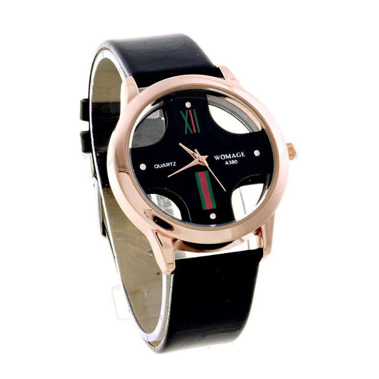 Mens New Stylish Hollow Dial Faux Leather Analog Watch