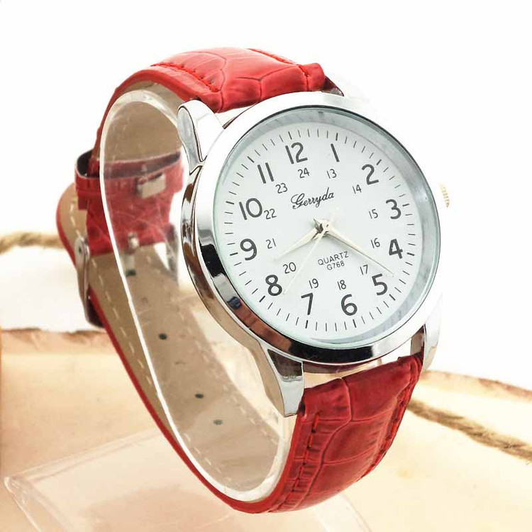 Mens Red Elegance Luxury Sports Leather Strap Quartz Wrist Watch