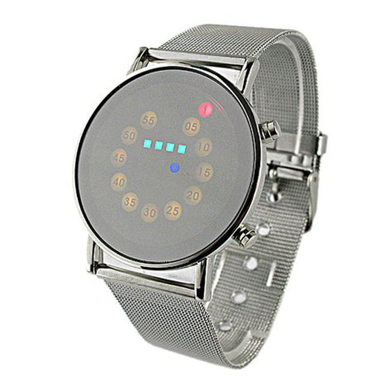 LED Light Stainless Steel Watch