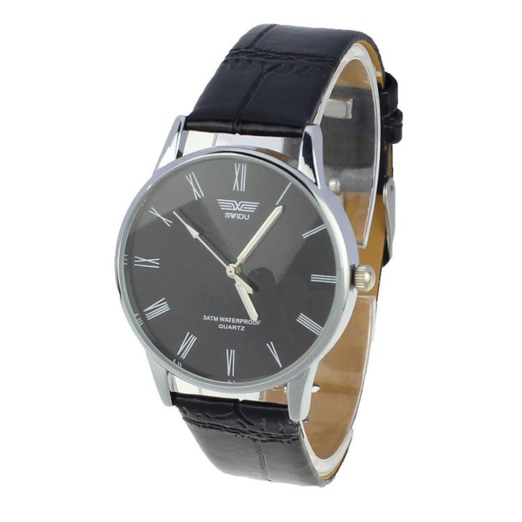Men's Classic Black Face Roman Numeral Sleek Leather Watch
