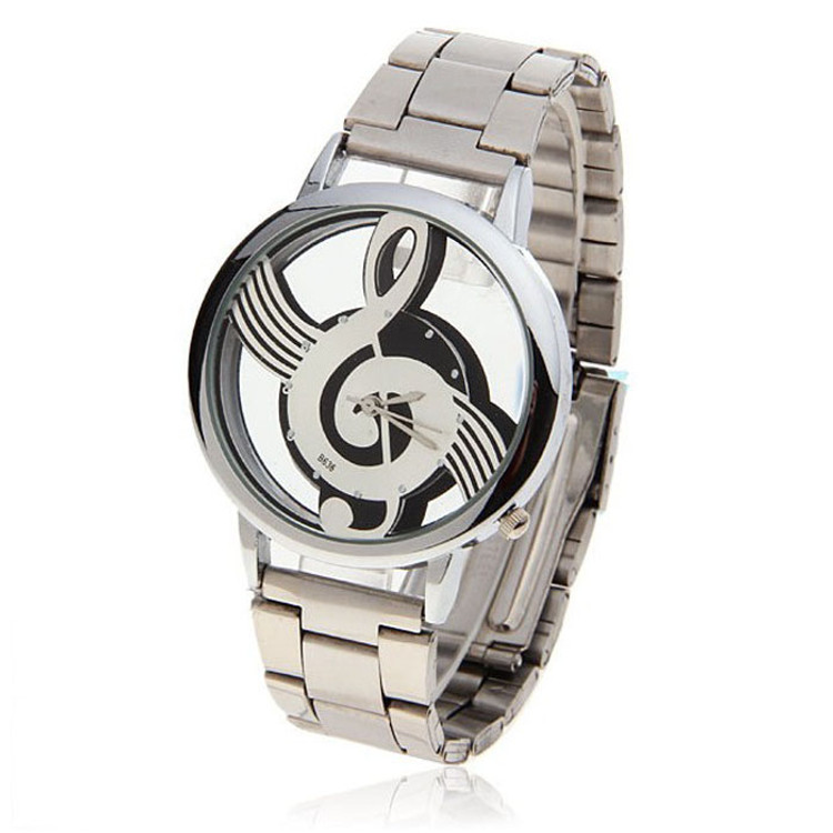 Note Music Notation Stainless Steel Wristwatch