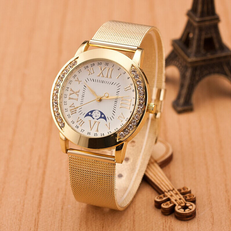 14k Gold Simulated Diamond Bezel Classic Girlfriend Watch