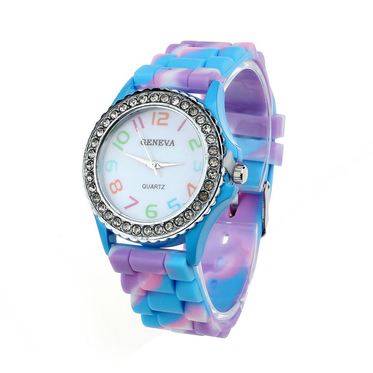 Women Geneva Silicone Crystal Bling Wrist Watch