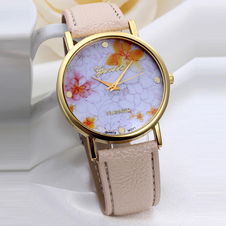 Women's Fashion Flower Dial Leather Band Watch