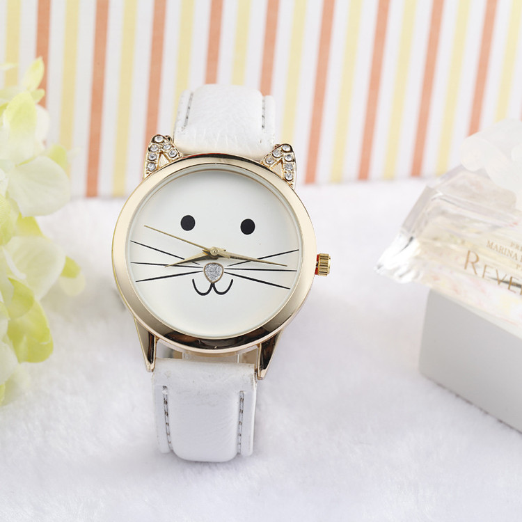 Simulated Diamond Lovely Cats Face PU Leather Quartz Watch