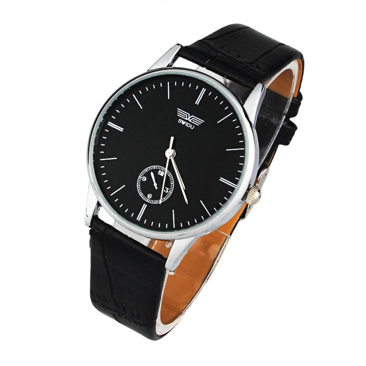 Mens Classic Quartz Analog Leather Strip Wrist Watch