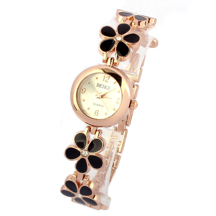 Fashion Daisies Flower Rose Gold Bracelet Wrist Watch
