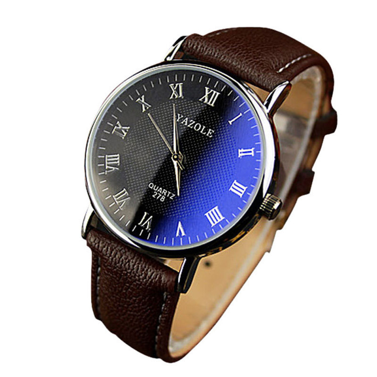 Mens New Luxury Fashion Leather Analog Blue Ray Watch