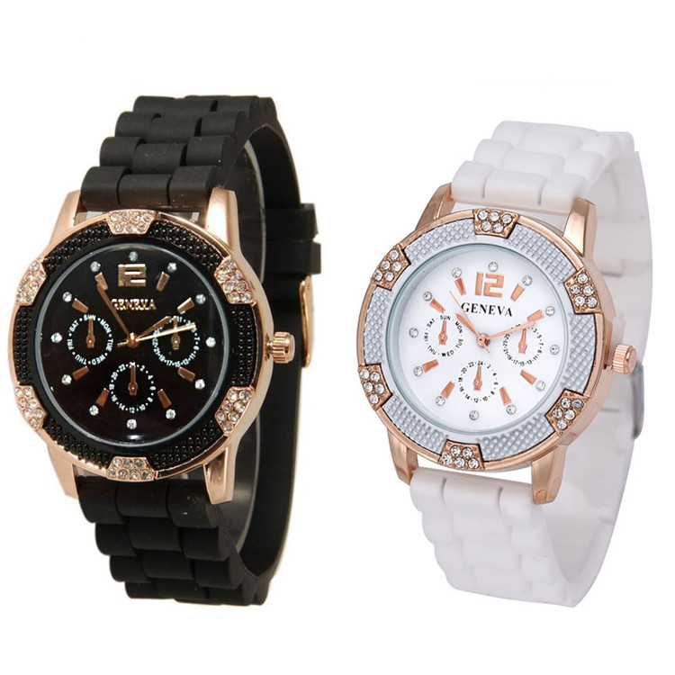 His Hers Black and White Rosegold Watches