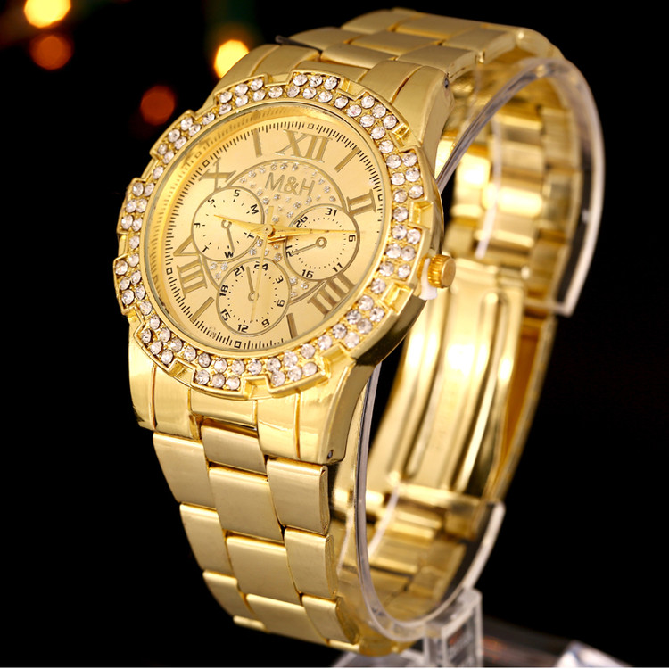 14k Gold Stainless Steel Iced Out Simulated Diamond Watch