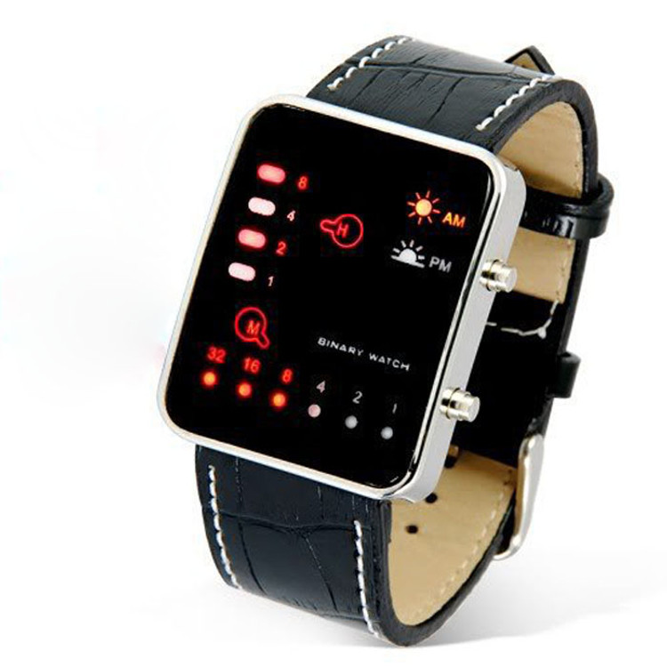 Mens Digital Red LED Binary Baller Leather Band Fashion Watches