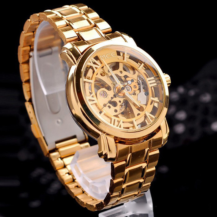 Gold Mechanical Automatic Self-Winding Hollow Watch