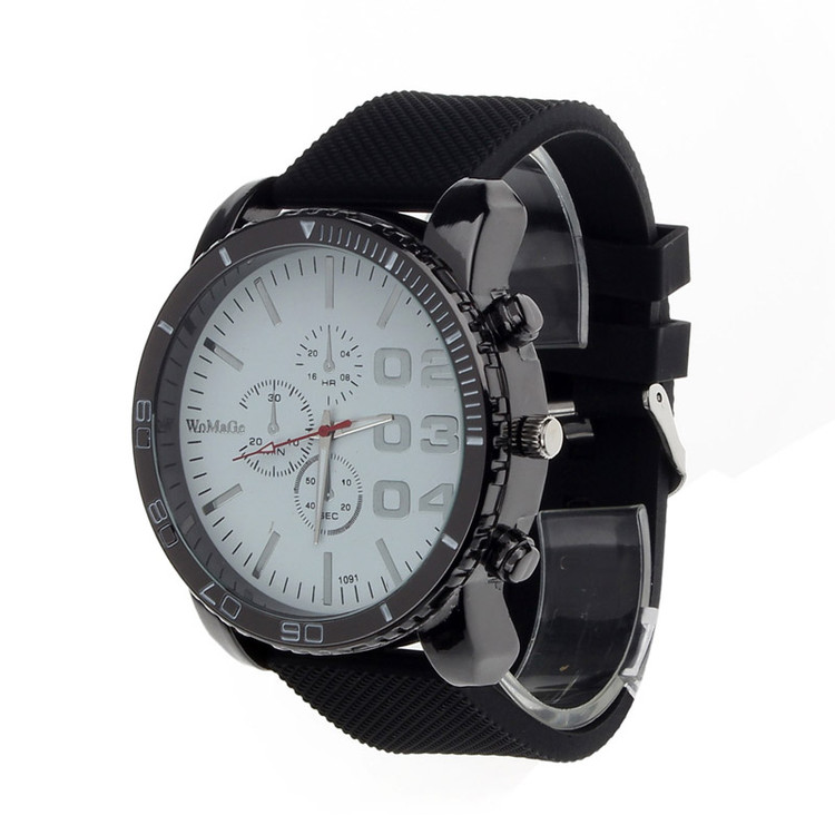 Classic Clean Hip Hop Fashion Gel Band Bling Watch Black