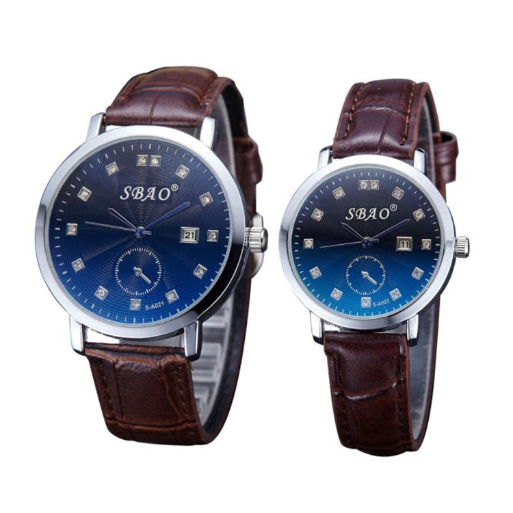 Lovers Blue Face Leather Strap Wristwatches