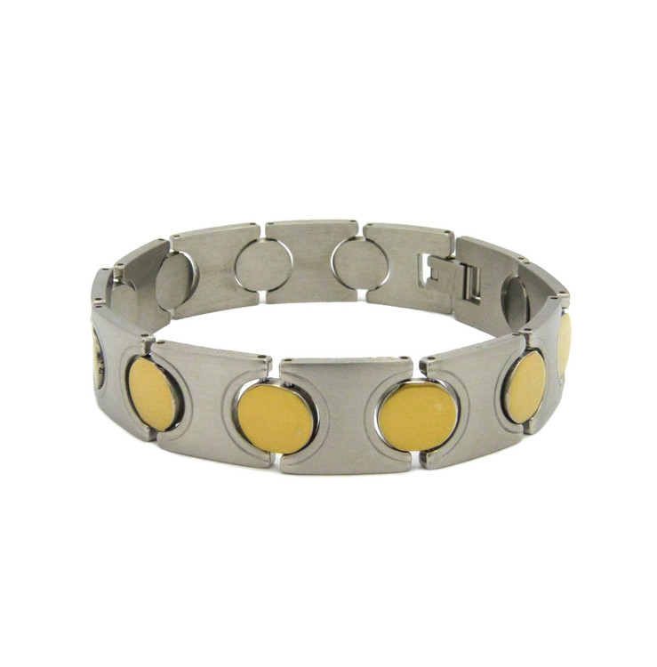 Gold Circle 316L Solid Stainless Steel Hip Hop Baller Bracelet