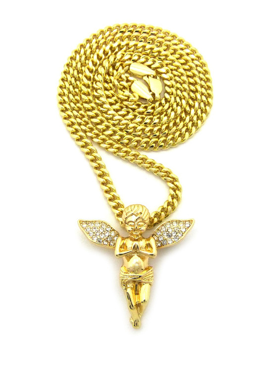 14k Gold Guardian Angel Praying Cherub Cuban Link Pendant