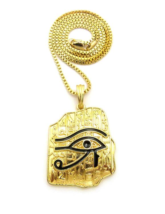 Ancient Eye Of Ra Hieroglyphics Tablet 14k Gold Pendant Chain
