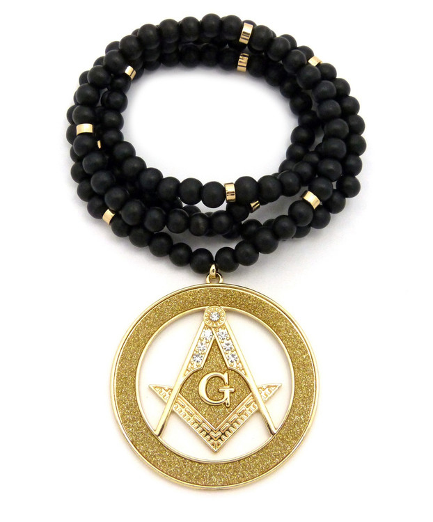 Iced Out Masonic Compass and Square Pendant Gold
