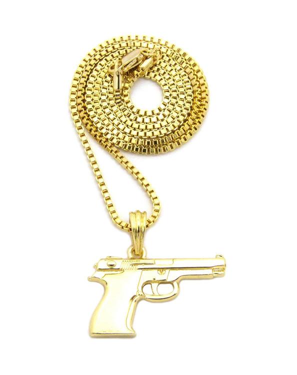 Mens Hip Hop 9mm Beretta Pistol Pendant Box Chain
