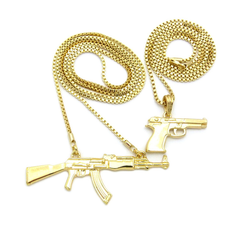 14k Gold Hip Hop 9mm Beretta Ak47 Chopper Pendant